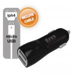Cargador USB para coche Dual color NEGRO. 1A/3.1A (INCLUYE CABLE MICROUSB/IPHONE4)
