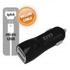 TMUAD102BL Cargador USB para coche Dual color NEGRO. 1A/3.1A (INCLUYE CABLE MICROUSB/IPHONE4)