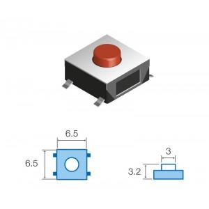 SW044 PULSADOR DE TACTO SMD Tamaño: 6,5x6,5mm, Altura total 3,2mm