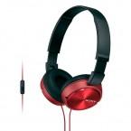 MDRZX310APR Auriculares de diadema para exteriores con microfono color rojo Sony.