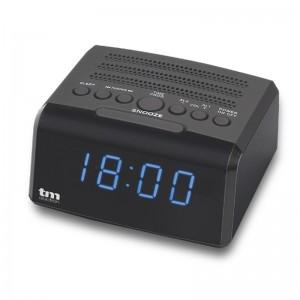 Radio reloj despertador con conector auriculares , usb para carga y doble alarma