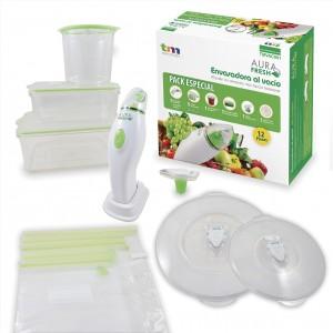 Set envasado rapido a pilas. Incluye 3 envases , 1 tapon , 2 tapas , 5 bolsas reutilizables y pilas alcalinas AA