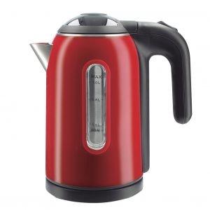 Hervidora de agua 1 litro color rojo  con 1500 w de potencia. Interior inox.