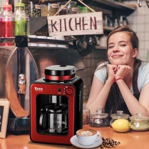 Mini cafetera 4 tazas con molinillo Roja Tm Electron