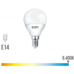 98322 BOMBILLA ESFERICA LED - E14 - 5W - 400 LUMENS - 6400K - LUZ FRIA - LUMECO canon reciclaje 0.11 incluido