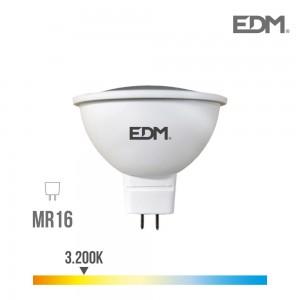35245 LAMPARA DICROICA LED 5W LUZ CALIDA 12V GU5.3  450 LM 3200K LUZ CALIDA EDM rosca Mr16 (canon raee led incluido)