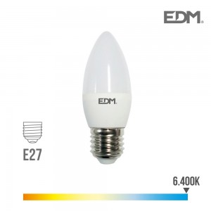 98838 BOMBILLA VELA LED E27 5W 6400K LUZ FRIA 400LM (canon raee incluido)