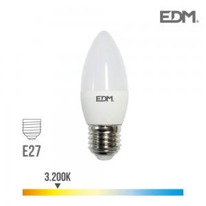 BOMBILLA VELA LED E27 5W 3200K LUZ CALIDA 400LM (canon raee incluido)