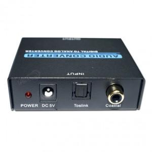 E-AL13A E-AL130A CONVERTIDOR DE AUDIO DIGITAL COAXIAL DIGITAL o FIBRA OPTICA  A ANALOGICA 2 RCA O JACK 3.5 INCLUYE ALIMENTADOR ,