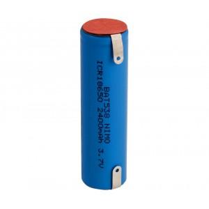 BAT538 Bateria Li-Ion 3.7v 2400 mah recargable ICR 18650 con terminales. 18 x 65 mm (puede valer para LUMEA SC2001 SC2003 , unie